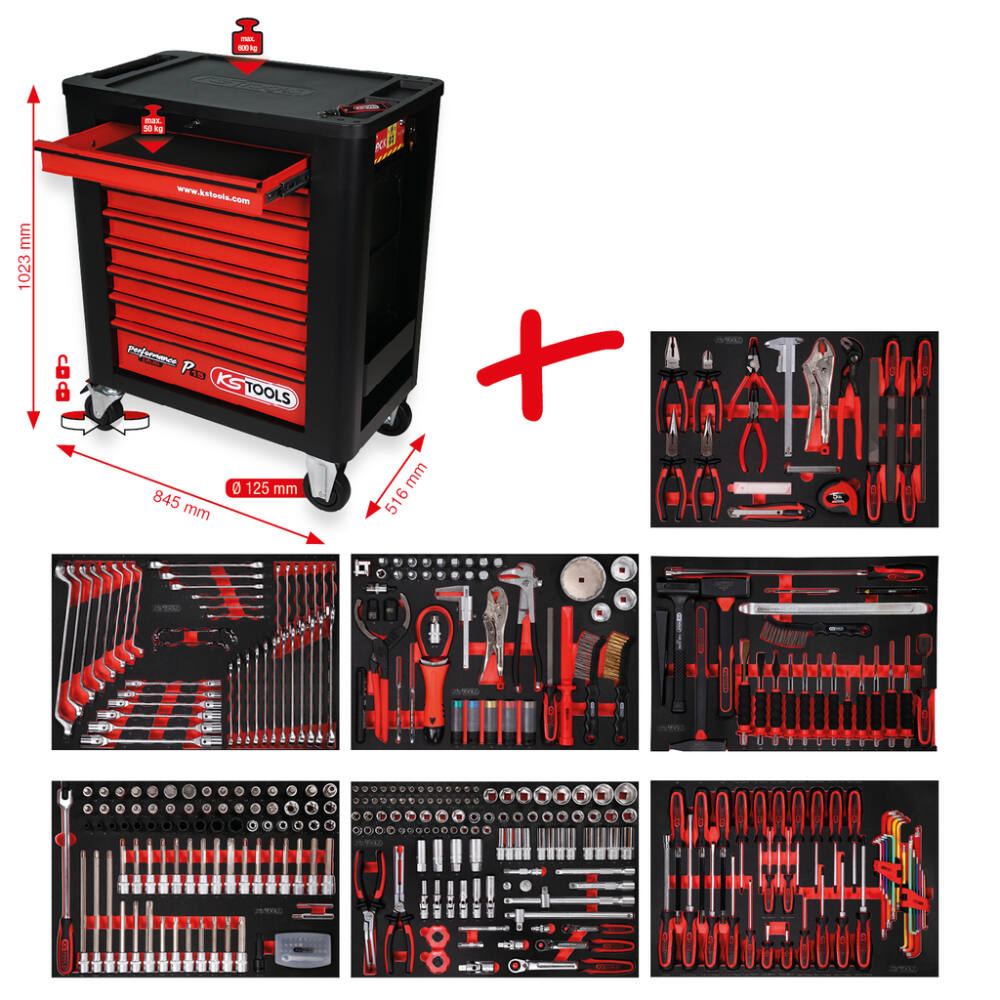 KS Tools Performanceplus műhelykocsi-készlet P15 397 szerszámmal 7 fiókban