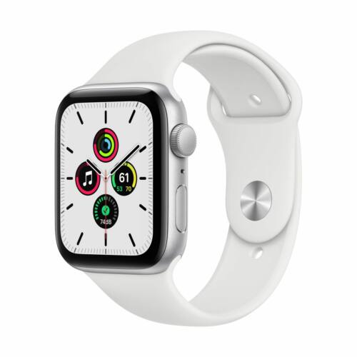 Apple Watch SE GPS 44mm Ezüst alumínium tok - sportszíjjal