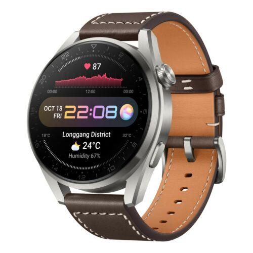 Huawei Watch 3 Pro Classic 48mm Titanium Grey - Barna bőrszíj (55026781)