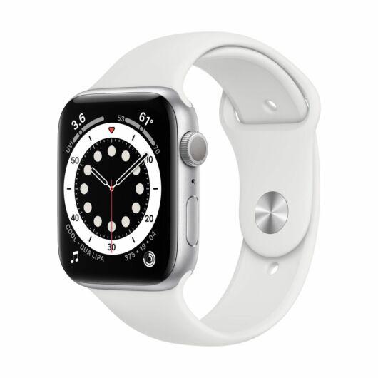 Apple Watch Series 6 GPS 44mm Ezüst Alumínium tok - sportszíjjal